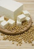 Tofu cheese and soy beans Stock Images