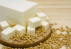 Tofu cheese and soy beans Royalty Free Stock Image