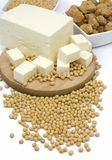 Tofu cheese and soy beans Stock Image