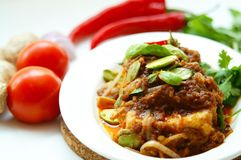 Tofu With Chili and Petai Royalty Free Stock Image