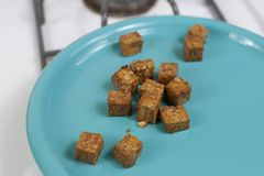 Tofu Cubes On Plate stock photography