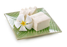 Tofu cubes on plate on white background Stock Images