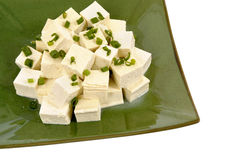 Tofu cubes with spring onion Stock Photos