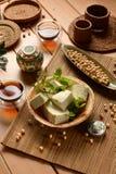 Tofu in cubi - alimento vegetariano fatto con i semi della soia Fotografia Stock