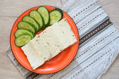 Tofu with cucumber Stock Photo