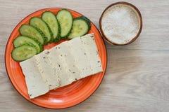 Tofu with cucumber and sea salt Stock Photos