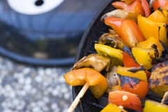 Tofu de barbecue sur des brochettes Photo stock