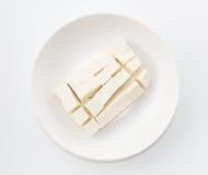 Tofu de caillette de haricots sur la vue supérieure de plat photo libre de droits
