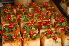Tofu delicacy. Spicy tofu delicacy at a food market in Chengdu, Sichuan Stock Image