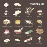 Tofu dishes icon set. 18 Line art colored icons. royalty free illustration