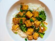 Tofu do mel do pimentão com arroz e brócolis Imagens de Stock Royalty Free