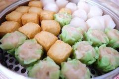 Tofu dos peixes e bolinha de massa da carne de porco Imagens de Stock Royalty Free