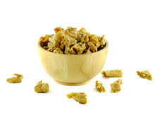 Tofu dry or vegetarian tofu dry in wooden bowl. Royalty Free Stock Photos