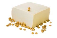 Tofu e feijões de soja. fotografia de stock royalty free