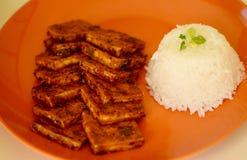 Tofu en rijst met een zoete saus 3 stock afbeelding