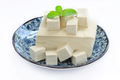 Tofu fresh is raw food and vegetarian food. Tofu fresh is raw food with vegetarian food, isolate background Stock Photo