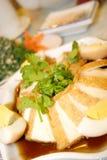Tofu frit par vapeur   photographie stock