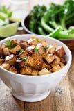 Tofu fritto scalpore in una ciotola immagini stock