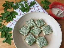 Tofu in green goutweed tempura, cooking organic food Stock Images