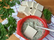 Tofu in green goutweed tempura, cooking organic food Stock Image