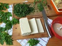 Tofu in green goutweed tempura, cooking organic food Royalty Free Stock Images