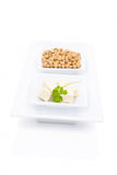 Tofu and soybeans. Royalty Free Stock Photos