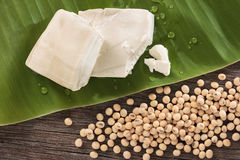 Tofu on green leaf with drops and soybeans on wood background. Royalty Free Stock Photos