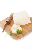 Tofu on kitchen board. Stock Images