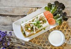 Tofu Lapje vlees, fusievoedsel Stock Fotografie