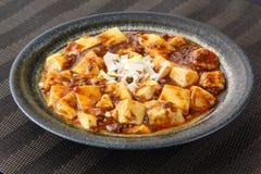 Tofu Mabo με τη σούπα ντοματών και κρεμμύδι στο κινεζικό πιάτο στοκ φωτογραφίες