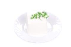 Tofu met dille op een plaat Stock Afbeelding