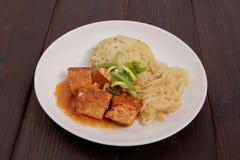 Tofu met kool en rijstbollen op een lijst Royalty-vrije Stock Afbeeldingen