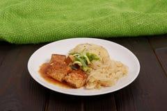 Tofu met kool en rijstbollen op een lijst Royalty-vrije Stock Foto's