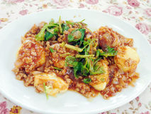 Tofu and mince stir fried Stock Image