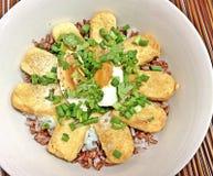 tofu misto e uova sode del riso del ฺฺBrown fotografia stock