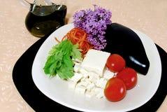 Tofu mit Aubergine und Tomate Stockfotografie