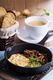 Tofu omelet with pesto and mushrooms Stock Photo
