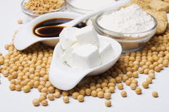 Tofu with other soy products Royalty Free Stock Image