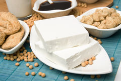 Tofu with other soy products. Slices of tofu with other soy products Royalty Free Stock Photos