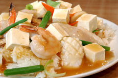 Tofu over rice Stock Images