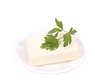 Tofu with parsley on a plate. Stock Photography