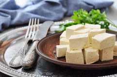 Tofu on plate Royalty Free Stock Photos