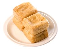 Tofu on Plate Isolated Royalty Free Stock Photography