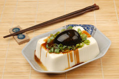 Tofu with preserved eggs. Chinese food- tofu with preserved eggs Royalty Free Stock Photos