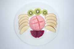 Tofu pudding fruit. On white background Stock Images