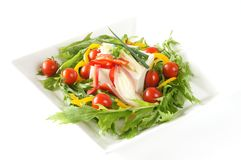 Tofu salad. Japanese cuisine tofu is made from soy Stock Image