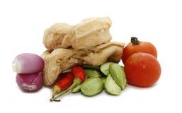Tofu sator bean chili tomato shallot. Ingredients for cooking Asian dish Stock Image