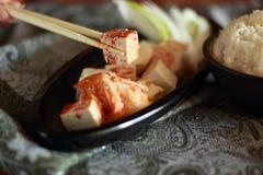 Tofu and sauce Royalty Free Stock Image