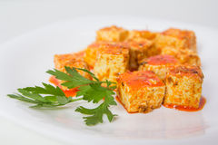 Tofu and sauce Royalty Free Stock Photo