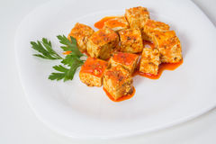 Tofu and sauce Stock Photography